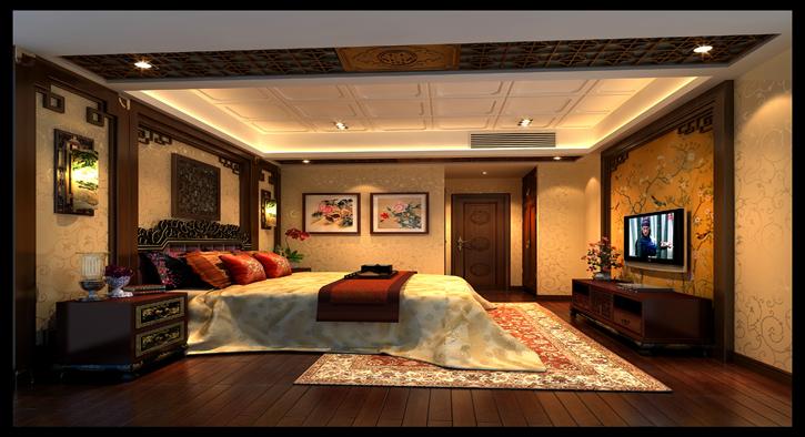 成都别墅品质楼盘主卧现代欧式设计展示