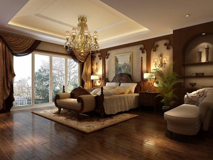 床的左面放了一个贵妃椅,很高贵典雅,顶面是一个下沉式的吊顶,顶面图片